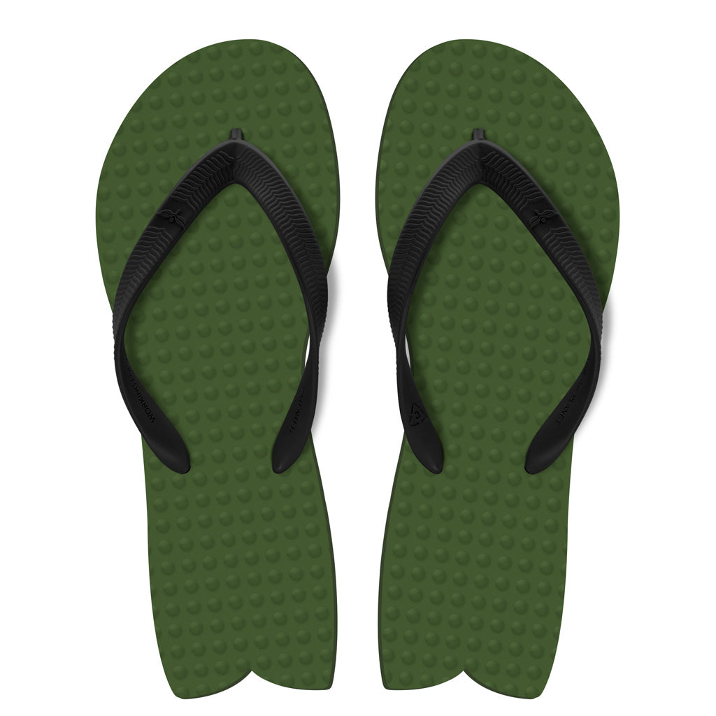 Men's Sustainable Flip Flops Fish Style Army Green with Black Straps