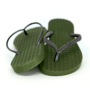 Women's Sustainable Flip Flops Army Green with Black Straps