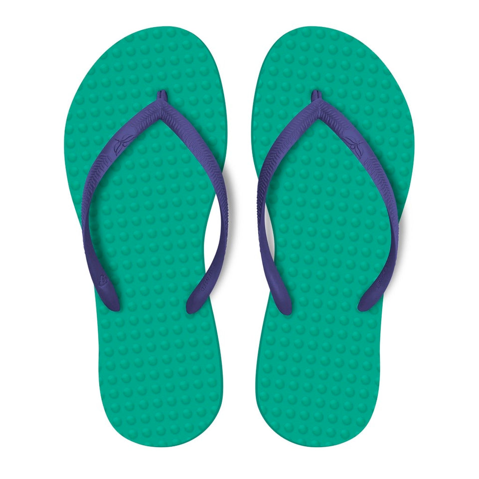 Women's Sustainable Flip Flops Emerald with Purple Straps