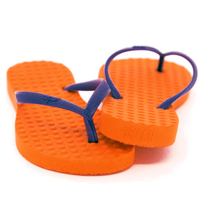 Women's Sustainable Flip Flops Orange with Purple Straps