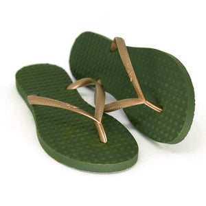 Women's Sustainable Flip Flops Army Green with Golden Straps