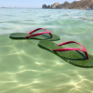 Women's Sustainable Flip Flops Army Green with Fuchsia Straps