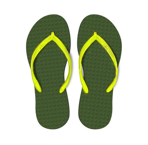 Women's Sustainable Flip Flops Army Green With Lemon Straps