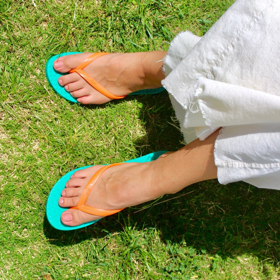 Women's Sustainable Flip Flops Emerald with Orange Straps