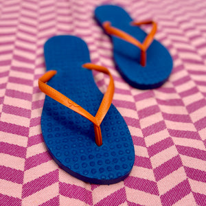 Women's Sustainable Flip Flops Navy with Orange Straps