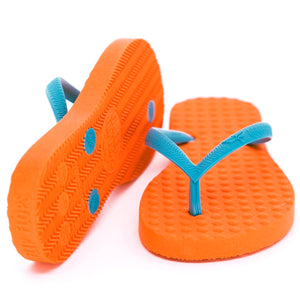Women's Sustainable Flip Flops Orange with Turquoise Straps