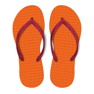 Women's Sustainable Flip Flops Orange with Fuchsia Straps