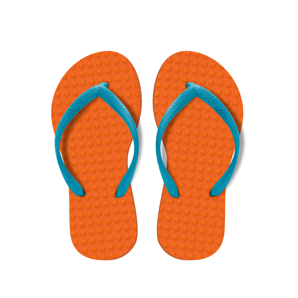 Kid's Sustainable Flip Flops Orange with Turquoise Straps