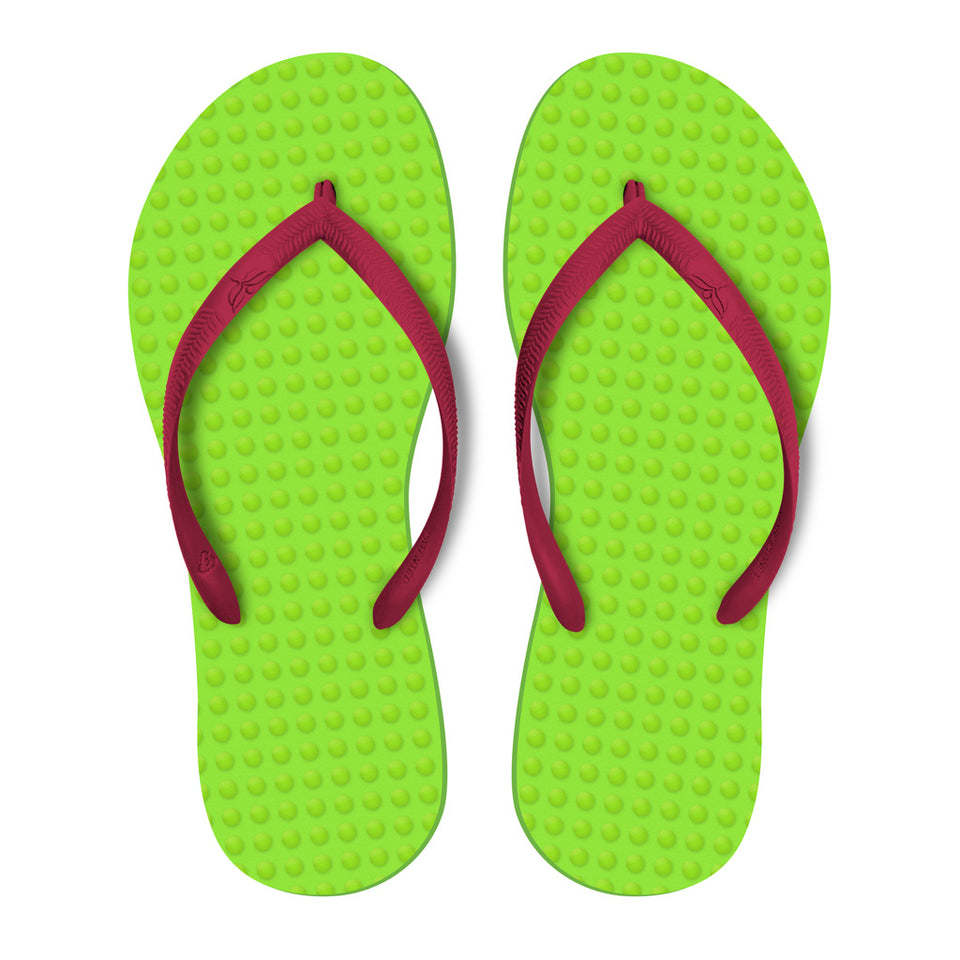 Women's Sustainable Flip Flops Lemon with Fuchsia Straps