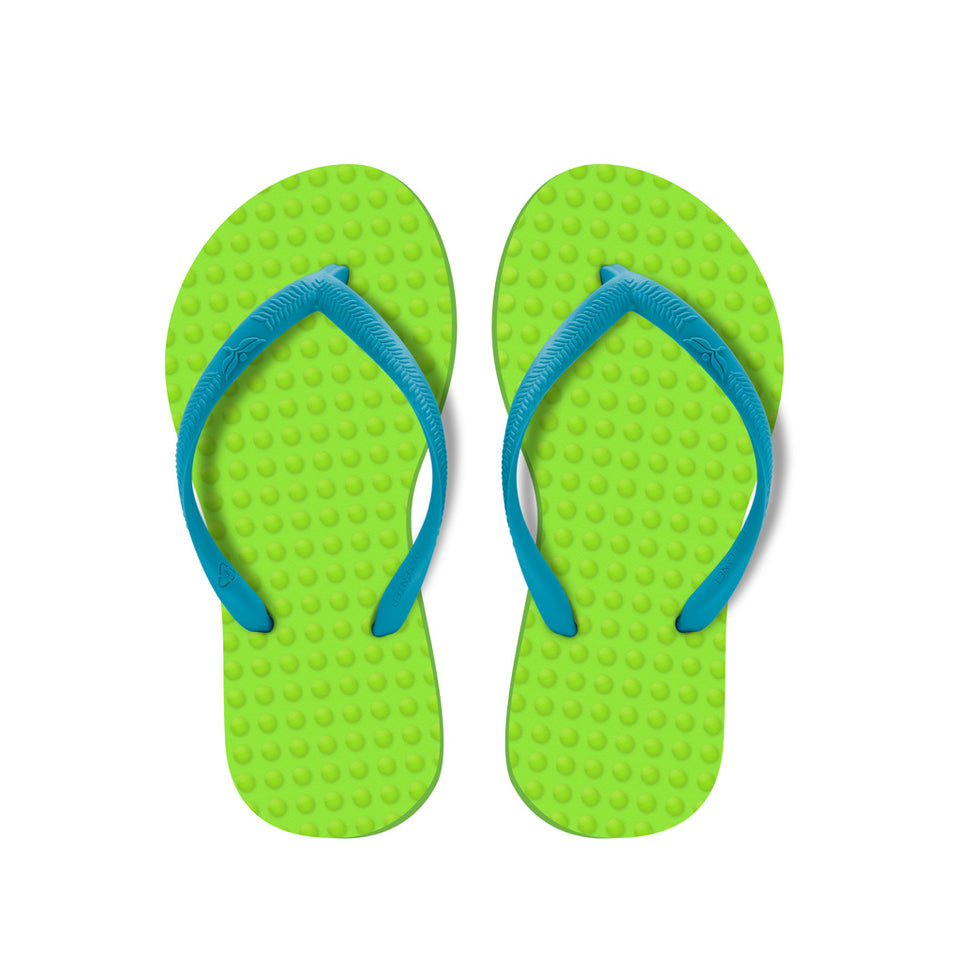 Kid's Sustainable Flip Flops Lemon with Turquoise Straps