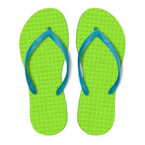 Women's Sustainable Flip Flops Lemon with Turquoise Straps