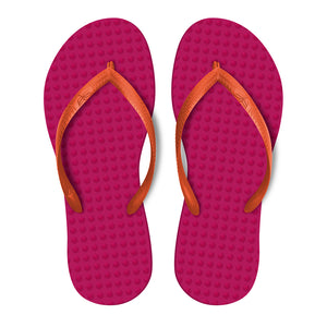 Women's Sustainable Flip Flops Fuchsia with Orange Straps