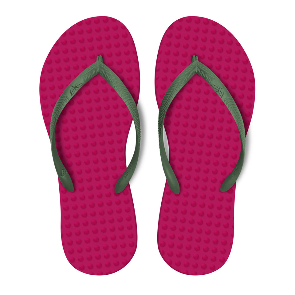 Women's Sustainable Flip Flops Fuchsia with Military Green Straps