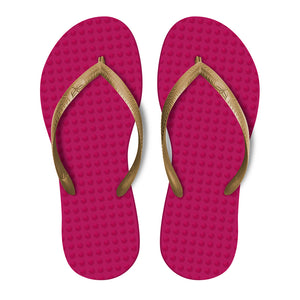 Women's Sustainable Flip Flops Fuchsia with Golden Straps