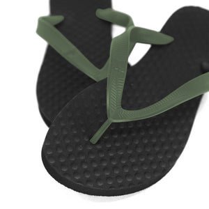 Men's Sustainable Flip Flops Recycled Black with Army Green Straps