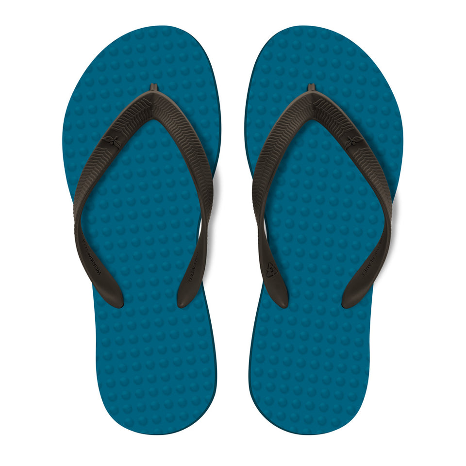 Men's Sustainable Flip Flops Navy with Brown Straps