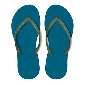Women's Sustainable Flip Flops Navy with Army Green Straps