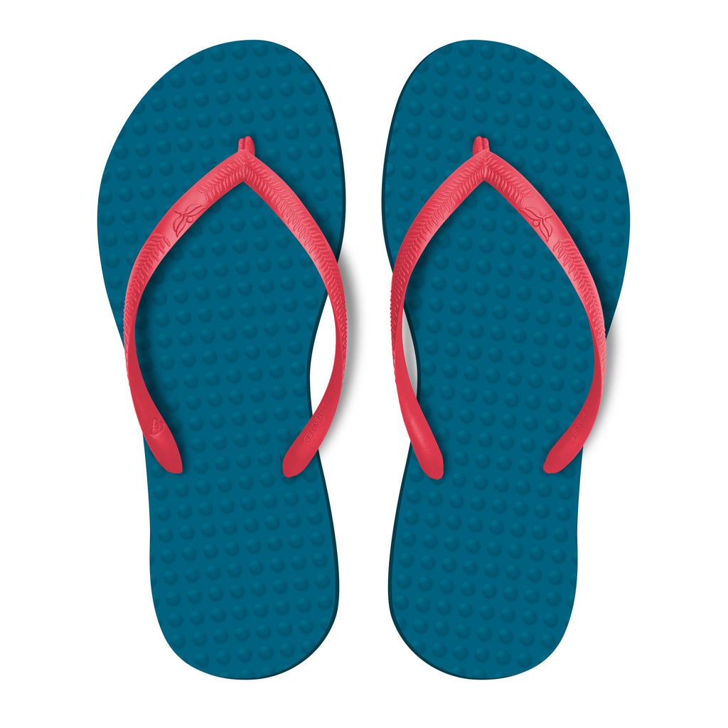 Women's Sustainable Flip Flops Navy with Watermelon Straps