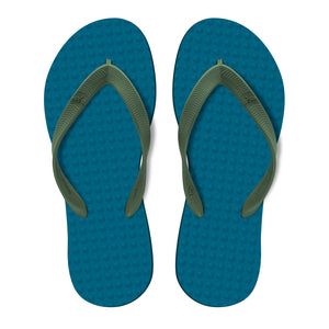 Men's Sustainable Flip Flops Navy with Army Green Straps