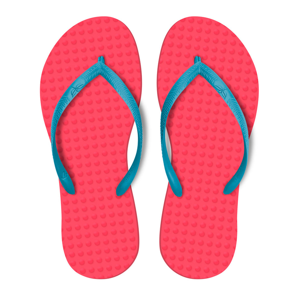 Women's Sustainable Flip Flops Watermelon with Turquoise Straps