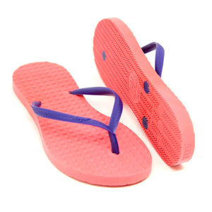 Kid's Sustainable Flip Flops Watermelon with Purple Straps