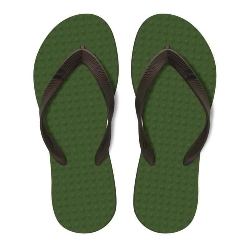 Men's Sustainable Flip Flops Army Green with Brown Straps