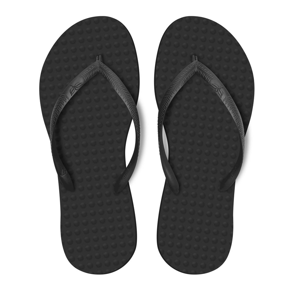 Women's Sustainable Flip Flops Recycled Black with Recycled Black Straps