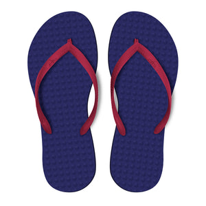 Women's Sustainable Flip Flops Purple with Fuchsia Straps