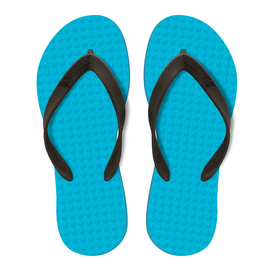 Men's Sustainable Flip Flops Turquoise with Brown Straps