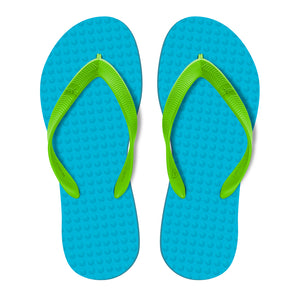 Men's Sustainable Flip Flops Turquoise with Lemon Straps