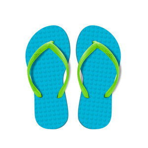 Kid's Sustainable Flip Flops Turquoise with Lemon Straps