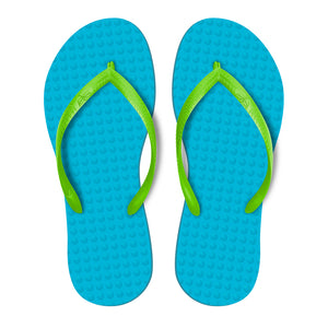 Women's Sustainable Flip Flops Turquoise with Lemon Straps