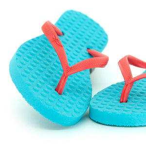 Kid's Sustainable Flip Flops Turquoise with Watermelon Straps