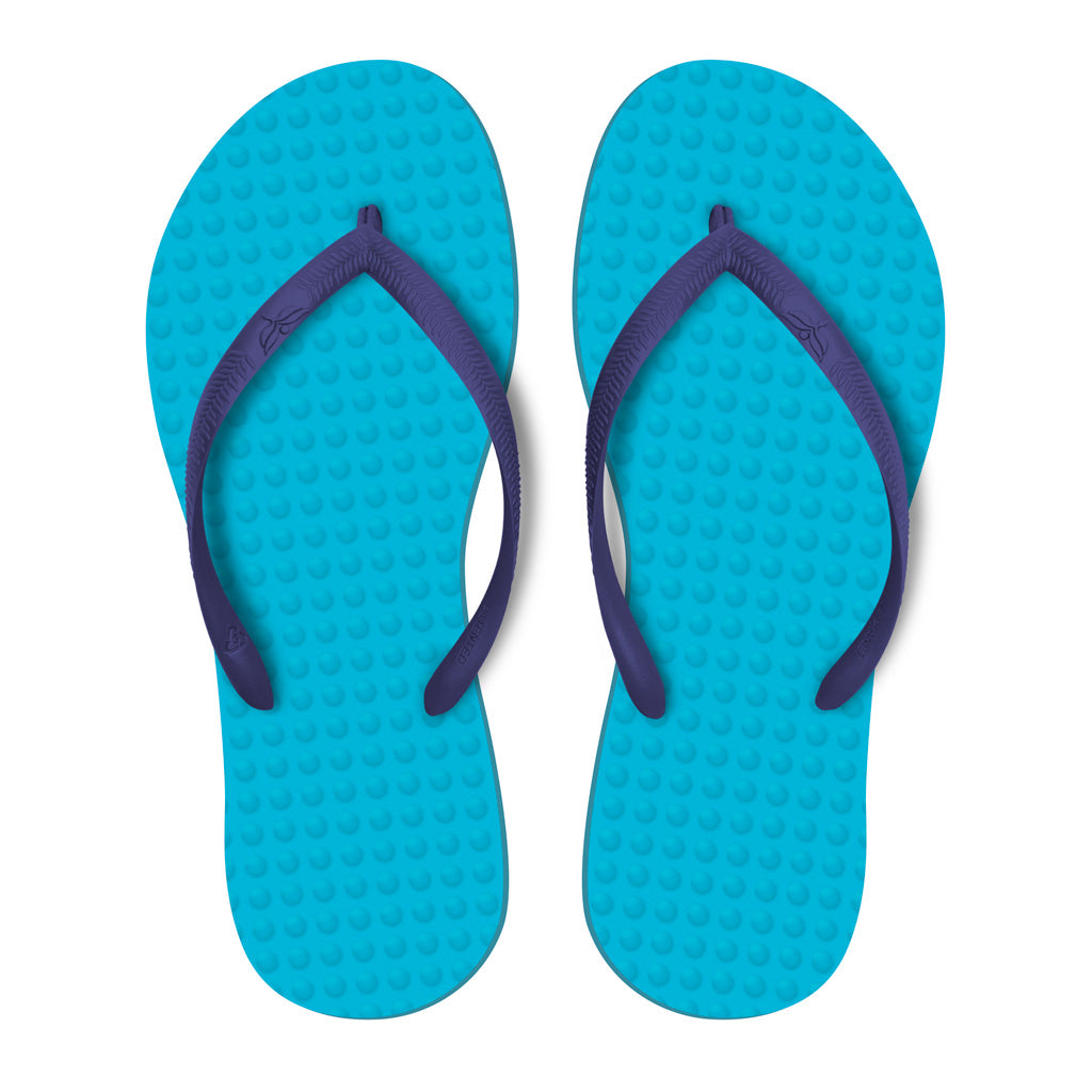 Women's Sustainable Flip Flops Turquoise with Purple Straps