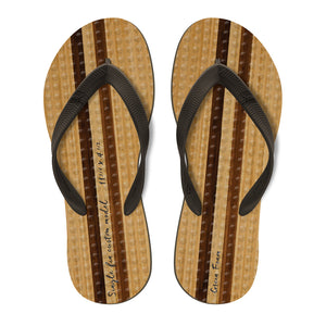 Men's Sustainable Flip Flops Vintage Print with Brown Straps