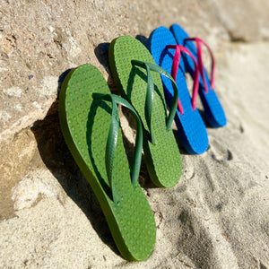 Women's Sustainable Flip Flops Army Green with Army Green Straps