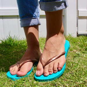 Women's Sustainable Flip Flops Maldives Turquoise sole with Copper straps