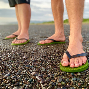 Men's Sustainable Flip Flops Army Green with Black Straps