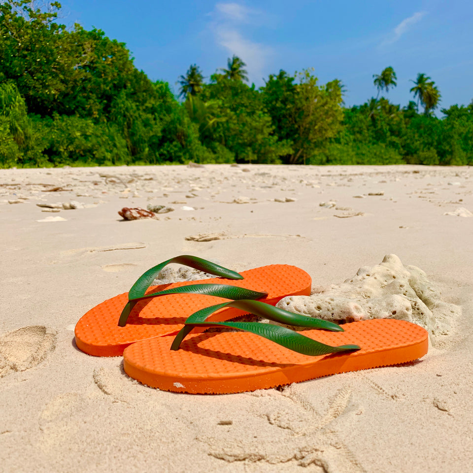 Men's Sustainable Flip Flops Orange with Army Green Straps