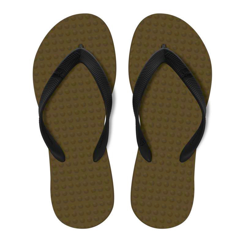 Men's Sustainable Flip Flops Brown with Black Straps