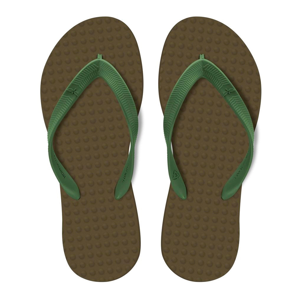 Men's Sustainable Flip Flops Brown with Army Green Straps