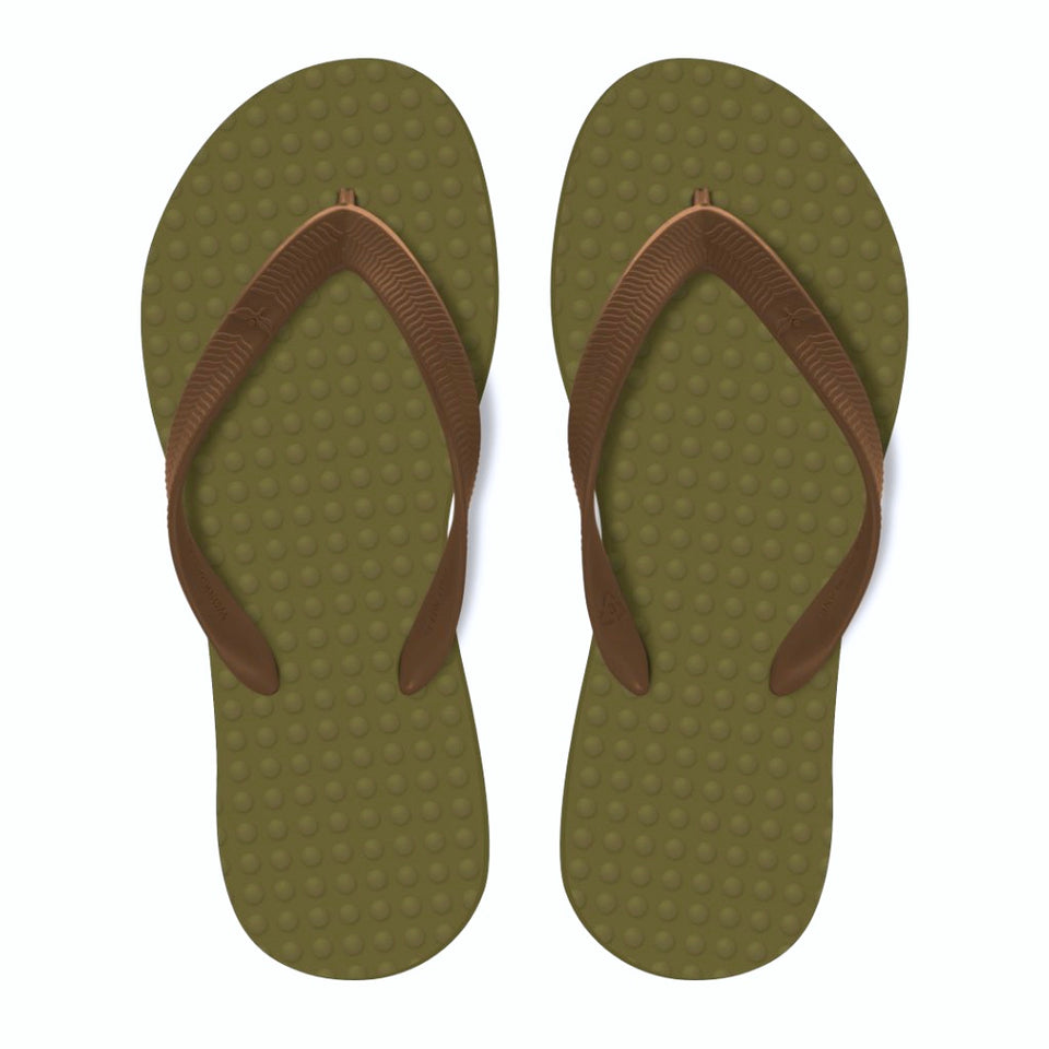 Men's Sustainable Flip Flops Oliva sole with Camel straps