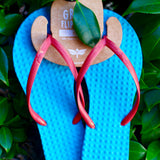 Women's Sustainable Flip Flops Turquoise with Watermelon Straps