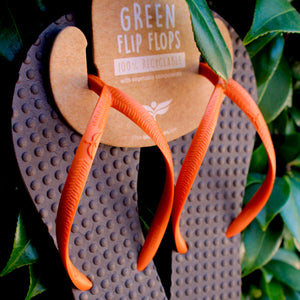 Women's Sustainable Flip Flops Brown with Orange Straps