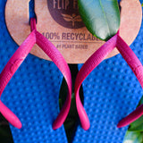 Women's Sustainable Flip Flops Navy with Fuchsia Straps