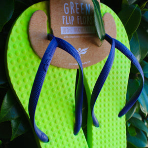 Women's Sustainable Flip Flops Lemon with Purple Straps