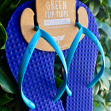 Women's Sustainable Flip Flops Purple with Turquoise Straps