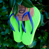Kid's Sustainable Flip Flops Lemon with Purple Straps