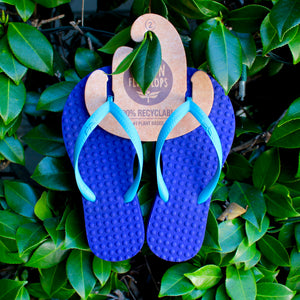 Kid's Sustainable Flip Flops Purple with Turquoise Straps