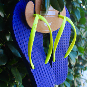 Women's Sustainable Flip Flops Purple with Lemon Straps